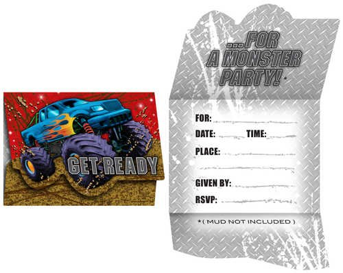 Creative Converting Mudslinger Birthday Party Invitations, 8 Count - 1