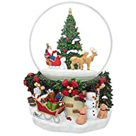 7″ Animated Rotating Santa Claus on Reindeer Sleigh by Christmas Tree Musical Snow Globe