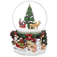7″ Animated Rotating Santa Claus on Reindeer Sleigh by Christmas Tree Musical Snow Globe