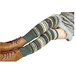 Wonderful Lifetime Women Fashion Winter Bohemian High Leg Knit Crochet Leg Warmers (Green)