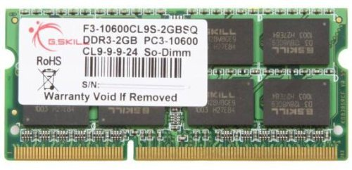 G.SKILL 2GB DDR3 1333 MHz PC3-10600 204-Pin Laptop Memory Model F3-10600CL9S-2GBSQ (Pro Series Model 3003 compare prices)