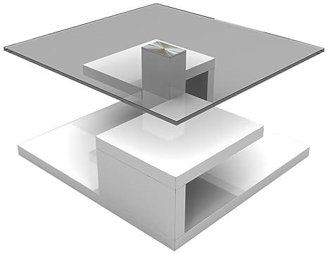 HL Design 01-01-147.2 Couchtisch Sara Tischplatte 10 mm, Sicherheitsglas, Klarglas, Materialstärke 40 mm, Rollen verdeckt, 80 x 80 x 40 cm, hochglanz weiß lackiert