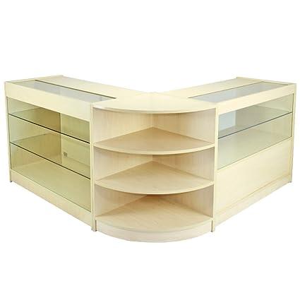 MonsterShop Jupiter Shop Counter Cabinets & Retail Display Glass Showcase Set, Maple, Melamine MDF