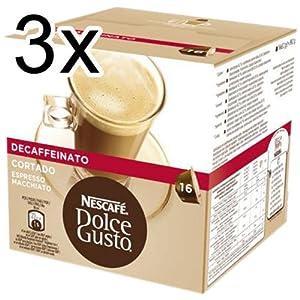 Nescafé Dolce Gusto Espresso Cortado Decaff, Pack of 3, 3 x 16 Capsules