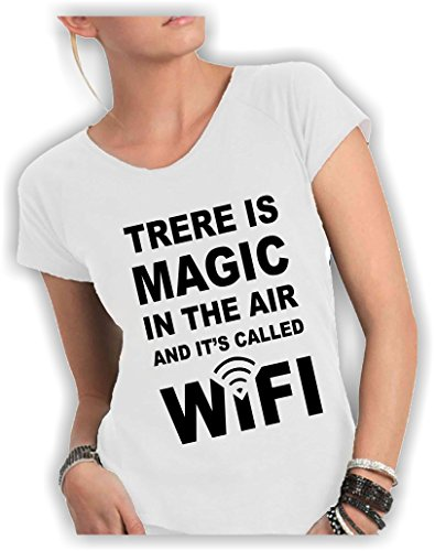 T-shirt DONNA cotone fiammato Scollo ampio a taglio vivo - THERE IS A MAGIC IN THE AIR AND IT'S CALLED WIFI divertenti scritte frasi humor vip cool MADE IN ITALY ... (S, BIANCO)