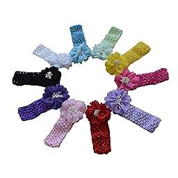 Baby Headbands Baby Girl Headbands with Chiffon Bows & Beads (10 pcs)