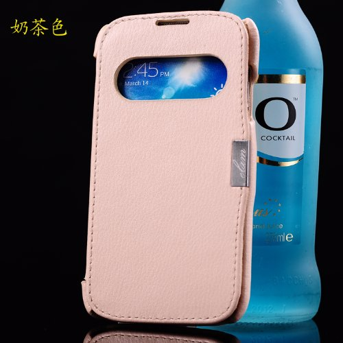Moon Monkey Genuine Leather Wallet & Magnet Design Folio Cover Case For Samsung Galaxy S4 (Light Pink)