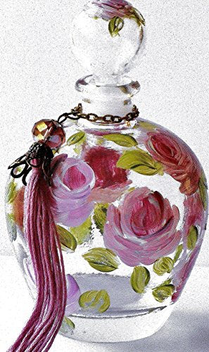 Hand Painted Rose Decorative Glass Perfume Bottle With Stopper