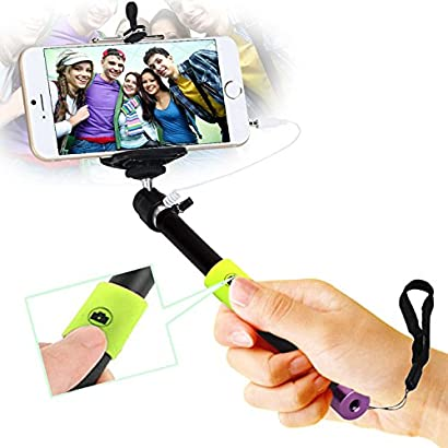 LSYOA Bluetooth Selfie Stick Monopod Adjustable Wireless Remote Perfect Compatible with Most Smart Phone in Market,Cherry Blossom Powder