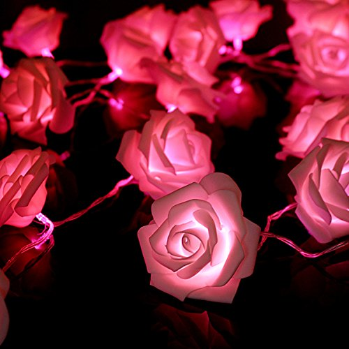 Kingso® 20 Led Battery Operated Rose Flower String Lights Wedding Garden Christmas Decor (Pink)