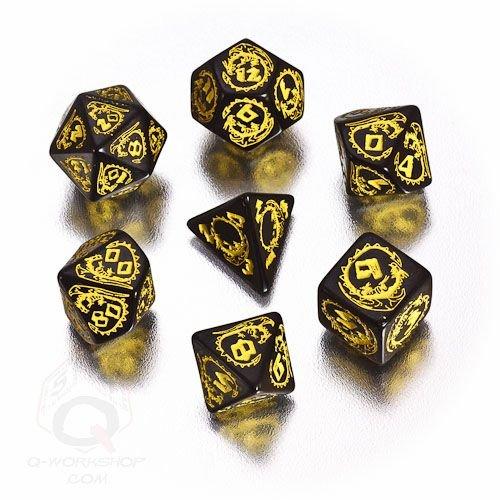 Q-Workshop Polyhedral 7-Die Set: Carved Dragon Dice Set (Black And Yellow)