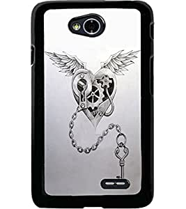 ColourCraft Heart and Key Design Back Case Cover for LG L70