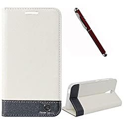 DMG HTC Desire 620G Flip Cover, DMG PRaiders Premium Magnetic Wallet Stand Cover Case for HTC Desire 620G (White) + 4in1 Laser Torch Stylus Pen
