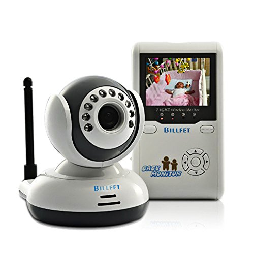 "Billfet Wireless 2.4 GHz Digital Video Baby Monitor Rechargeable with Night Vision and 2.4"" LCD, Talk to Baby Two-way Intercom, Zoom In/Out, Auto Scan Working Cameras, 4 Channels - 1"