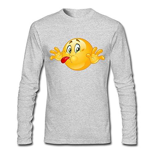 YLAUO Play-Scherzo di Carnevale, da uomo, maglietta a maniche lunghe in cotone Grigio melange XL
