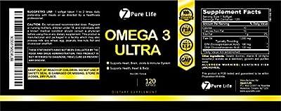 Omega 3 Ultra - Fish Oil Liquid Soft Gel Supplement - Pills Contain EPA & DHA Fatty Acids - Vitamins for Men, Woman & kids - Better than Gummies