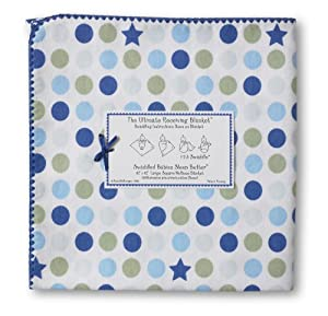 SwaddleDesigns Ultimate Receiving Blanket, Dots and Stars, Navy