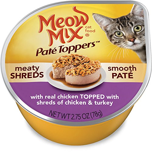 Meow Mix Paté Toppers With Real Chicken Topped With Shreds Of Chicken & Turkey
