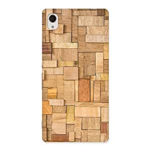 Ajay Enterprises Real Wood Blocks Pattern Back Case Cover for Xperia M4 Aqua