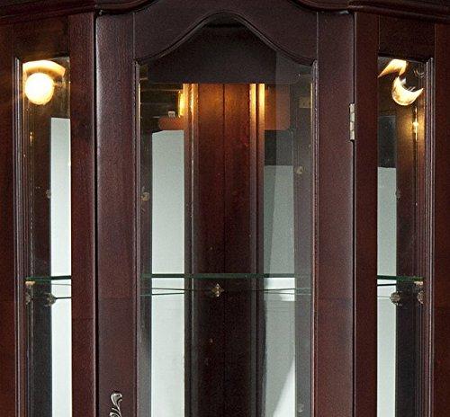 Southern Enterprises Lighted Corner Curio Cabinet, Mahogany Finish with Antique Hardware