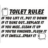 Toilet Rules if you lift it put it down Bathroom Sticker Joke Novelty