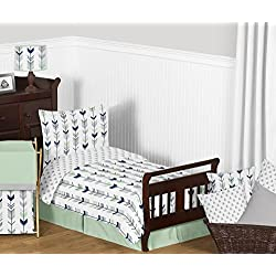 Sweet Jojo Designs Grey, Navy Blue and Mint Woodland Arrow Print Boys or Girls 5 Piece Toddler Bedding Comforter Sheet Set