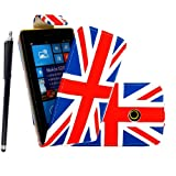 For Nokia Lumia 520 Union Jack England Flag Printed Pouch PU Leather Magnetic Protected Flip Case Cover + Stylus+Screen Guard