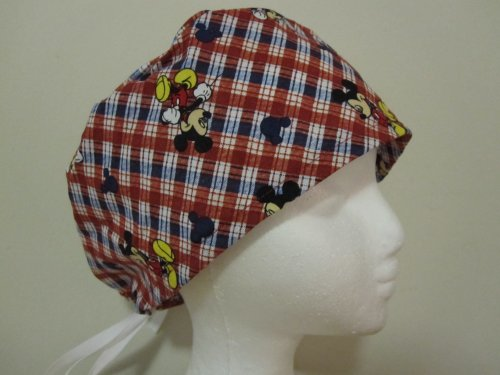 Mens Scrub Cap, Surgical Hat, Mickey Mouse Plaid