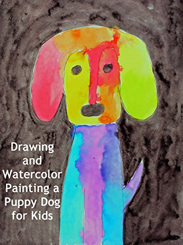 Drawing and Watercolor Painting a Puppy Dog for Kids