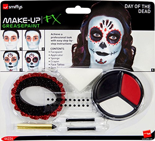 Smiffy's 44226 - Giorno del Kit Make-Up Dead con Face Paints Faccia Tatuaggio Gem Adesivi Pastello e Applicatori, Taglia Unica