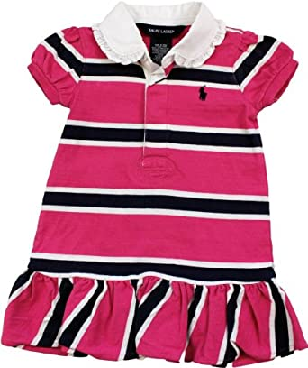 Polo Ralph Lauren Short-sleeved Rugby Dress 12 Month Girl Pink