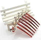 Ecloud Shop® White Pearl Rhinestone Bling con cuentas de plata cristal decorativo peine del p