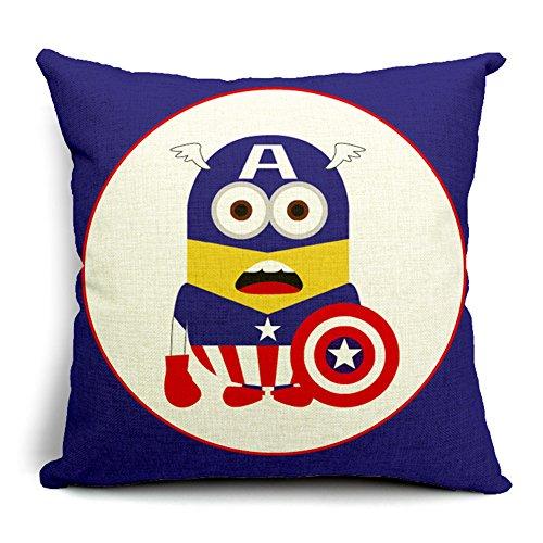 Poens Dream Cuscino, Captain America Cartoon Cotton Linen Decorative Throw Pillow Case Cushion Cover, 17.7 x 17.7inches