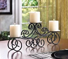 Black Tuscan Scrollwork CANDELABRA 3 Pillar Candle Holder Wedding Centerpiece