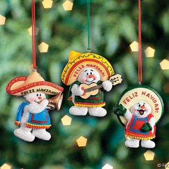 3 FELIZ Navidad SNOWMAN Christmas Ornaments/MEXICAN