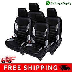 Autofact Brand (Economical Range) PU Leatherite Car Seat Covers for Maruti Car 800 Old Model in Black and Silver