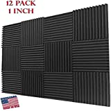 Mybecca Acoustic Wedge Studio Soundproofing Foam Wall Tiles, 12 by 12-Inch (12-Pack)