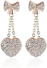 Comprar AnaZoz Joyería de Moda Pendientes Lazo Corazón 18K Chapado en Oro Rosa Cristal Austria SWA Elements Colgante Pendientes Para Mujer