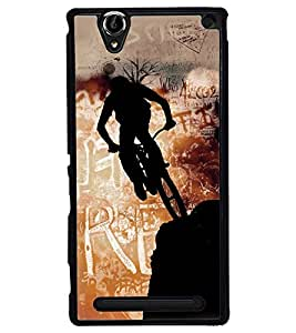 Fuson Premium Rider Metal Printed with Hard Plastic Back Case Cover for Sony Xperia T2 Ultra Dual