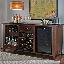 Firenze Wine and Spirits Credenza with 28 Bottle Touchscreen Wine Refrigerator