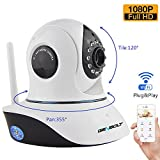 GENBOLT Wireless WiFi Security Camera System 2.0MP 1080P HD Pan Tilt IP Network Surveillance Webcam,Day Night Vision Dog Cam,Baby Monitor,Two-Way Audio Nanny Cam,Built-in Microphone,SD Card Slot(128GB),Motion Detection
