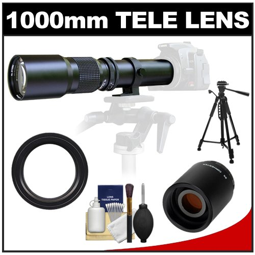 "Samyang 500Mm F/8.0 Telephoto Lens With 2X Teleconverter (=1000Mm) + 58"" Tripod Kit For Canon Eos 60D, 7D, 5D Mark Ii Iii, Rebel T3, T3I, T4I Digital Slr Cameras"