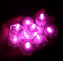 KCRIUS(TM) Pack of 12 - Pink - Submersible Waterproof Underwater Tea Light Sub Lights Battery Operated LED TeaLight
