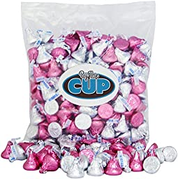Hershey\'s Kisses Milk Chocolate - Silver & Pink It\'s a Girl Candy 2 pound bulk bag - By The Cup