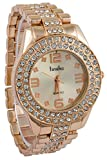 Timiho Stunning Gold Dial And Strap Crystal Studded Watch For Women