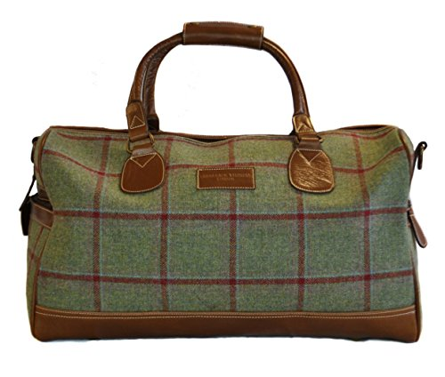 Green-tweed-with-red-check-weekend-holdall-overnight-bag-with-genuine-leather-handles-and-detailing-by-Frederick-Thomas