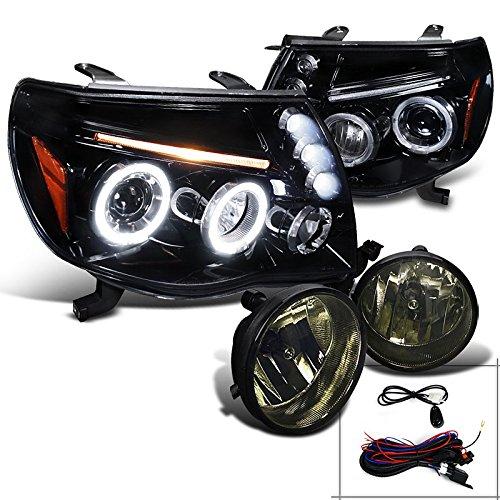 Tacoma Glossy Black Halo LED Projector Headlights+Smoke Fog Lamps (Toyota Tacoma Black Headlights compare prices)