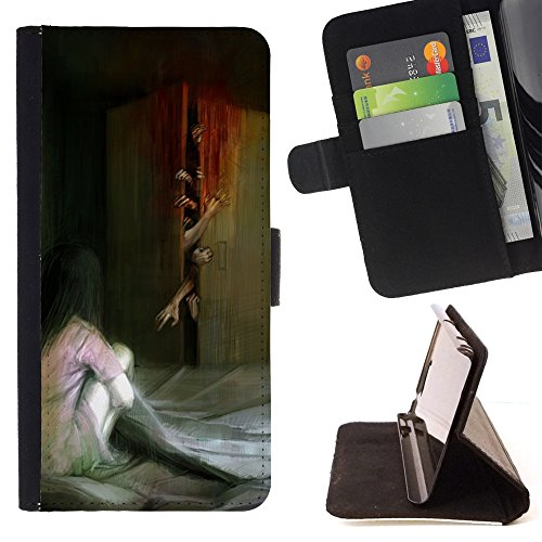 ZOMBIE SCARY PAINTING BLOOD MONSTER/ Personalized Design Custom Style PU Leather Case Wallet Flip Stand - Cao - For Apple Iphone 5 / 5S