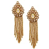 Golden Coloured Tassel Earrings Made Up Of Alloy By Shnella.
