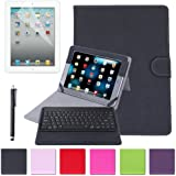 HDE Folding Leather Case Cover Stand for iPad 2/3/4 w/ Wireless Bluetooth Keyboard, Stylus, & Screen Protector (Black)